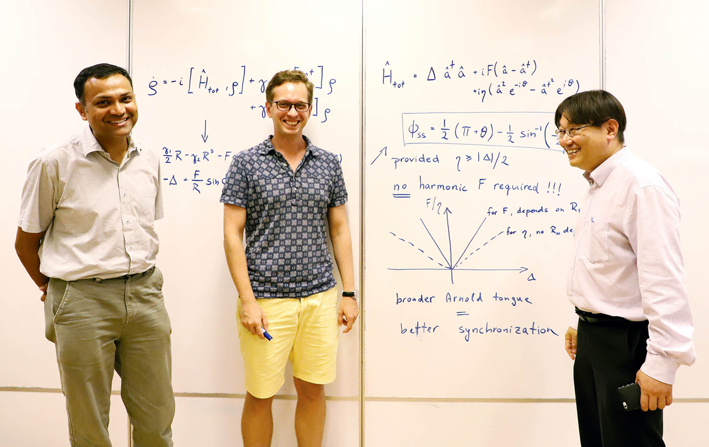 Manas Mukherjee, Michal Hajdusek and Kwek Leong Chuan at the Centre for Quantum Technologies in Singapore