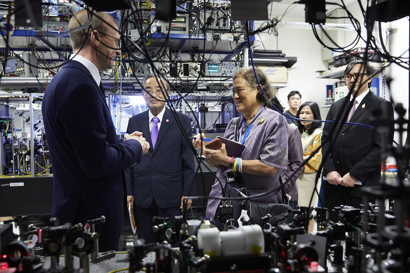 HRH Princess Sirindhorn in the atomic clock lab of Murray Barrett in Singapore
