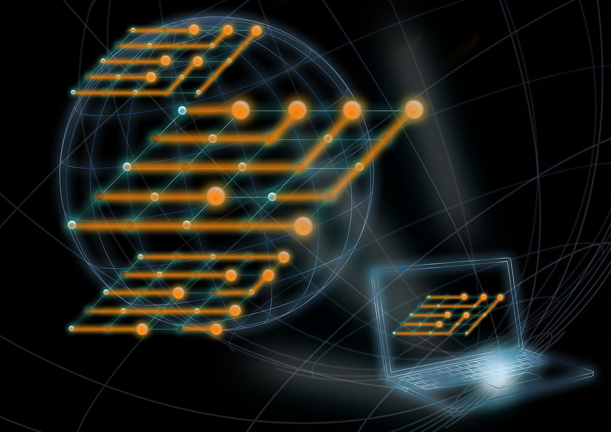 Artist's conceptual illustration of a measurement-based quantum computation controlled over the internet.