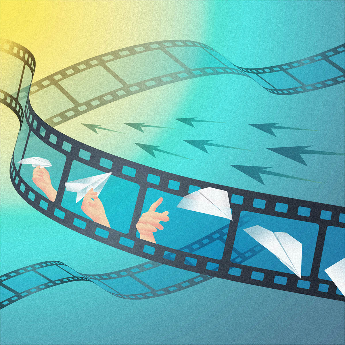 Artist's illustration of a film reel showing a paper plane being thrown, with arrows to suggest reverse play.