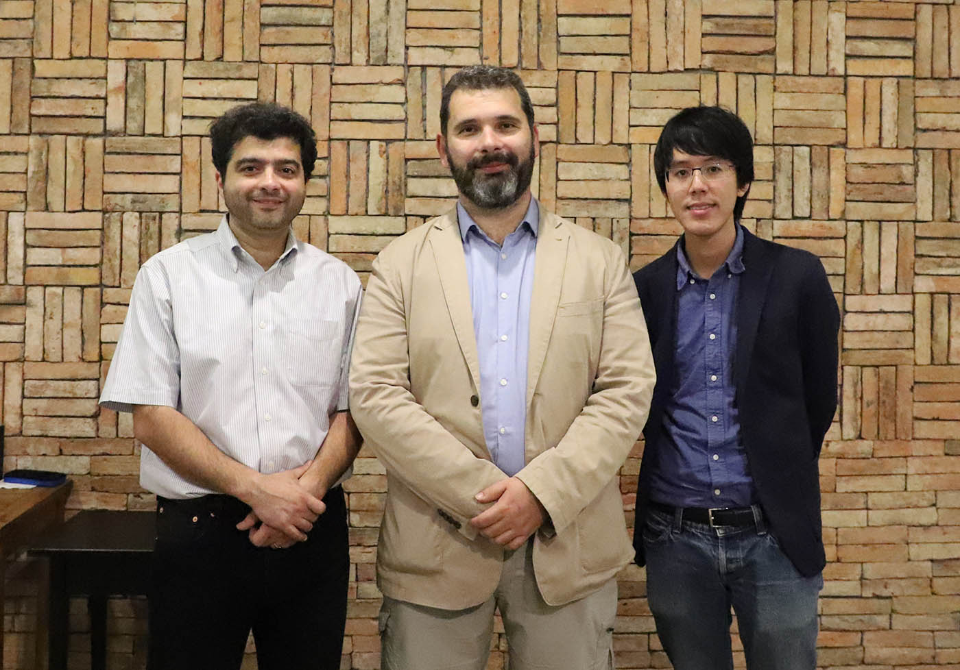 Pictured left to right Pedram Roushan, Dimitris Angelakis and Jirawat Tangpanitanon