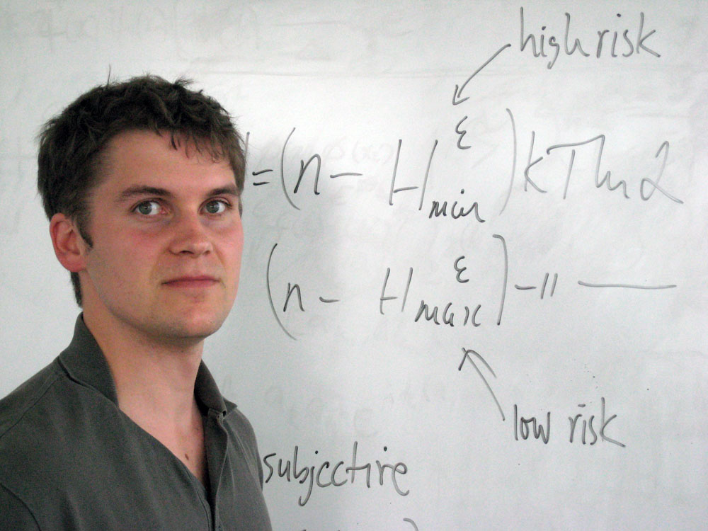 Photo of Research Fellow Oscar Dahlsten at the Centre for Quantum Technologies in Singapore