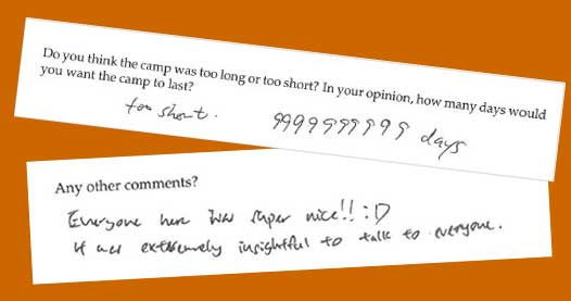 Samples of course feedback forms.