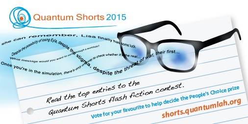 Advert for the Quantum Shorts 2015 shortlisted stories