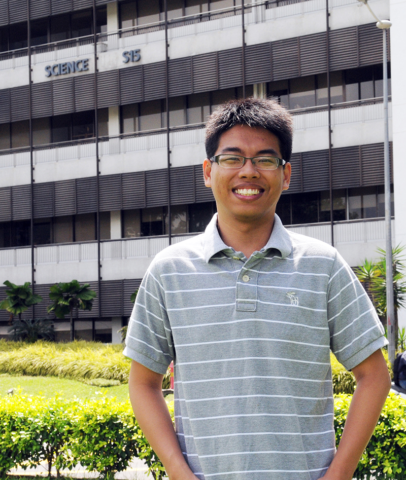 NUS student Nguyen Truong Duy pictured outside the Centre for Quantum Technologies
